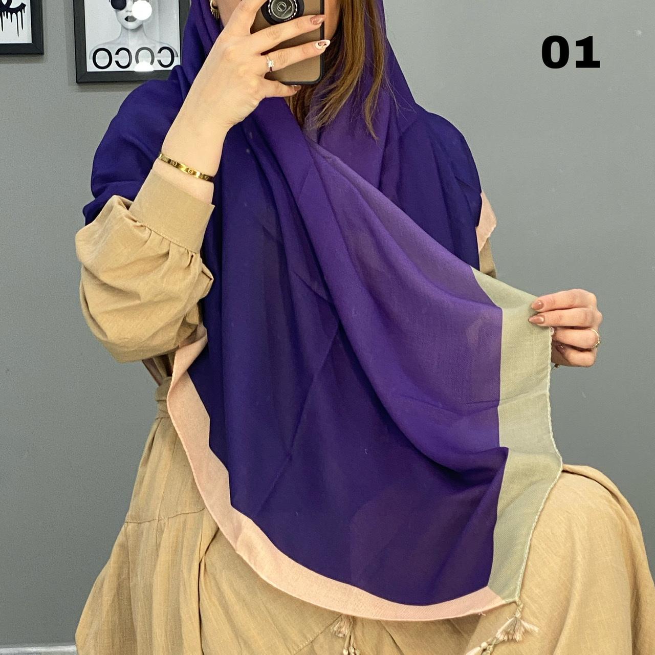 روسری آبرنگی منگوله دار کد 1624