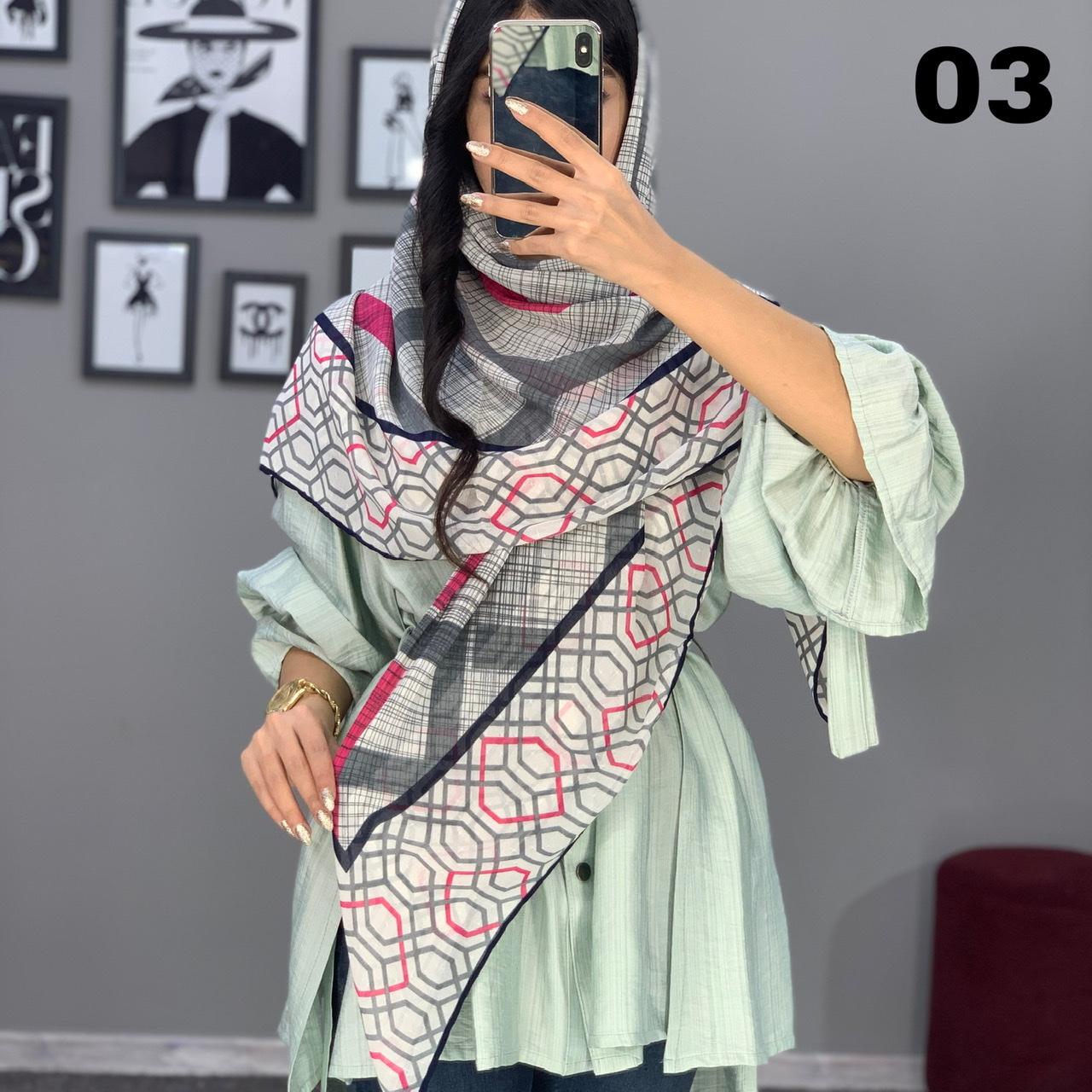 روسری حریر طرح دار کد 1775